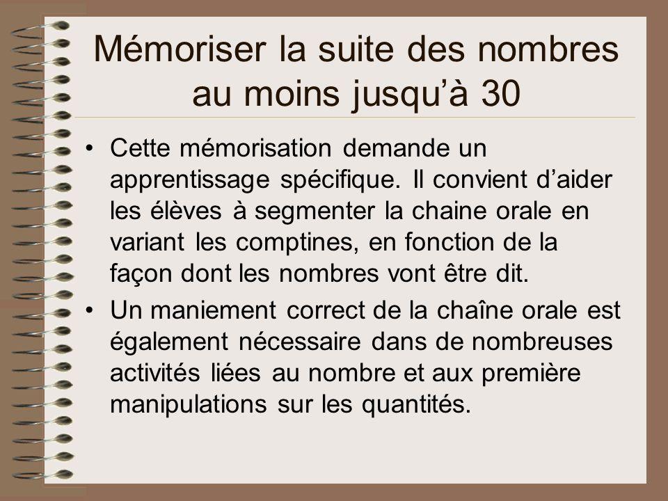 Mémoriser la suite des nombres au moins jusquà 30 Cette mémorisation demande un apprentissage spécifique.