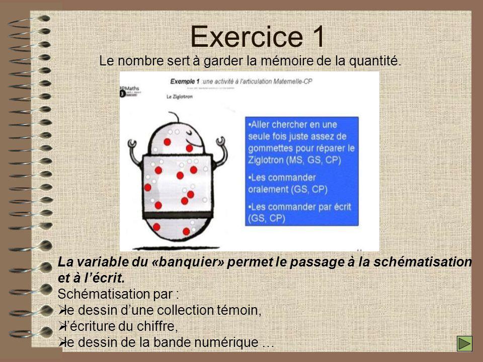 Exercice 1 Le nombre sert à garder la mémoire de la quantité.