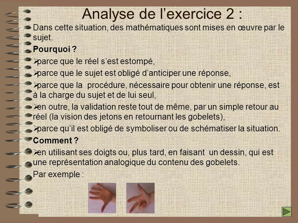 Analyse de lexercice 2 : Dans cette situation, des mathématiques sont mises en œuvre par le sujet.