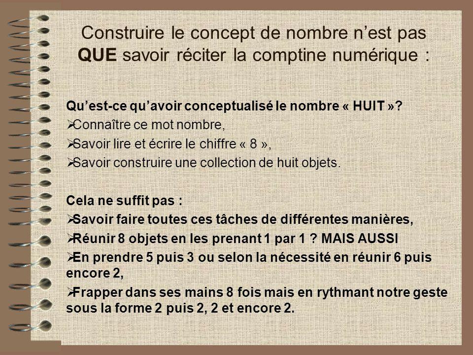 Construire le concept de nombre nest pas QUE savoir réciter la comptine numérique : Quest-ce quavoir conceptualisé le nombre « HUIT ».