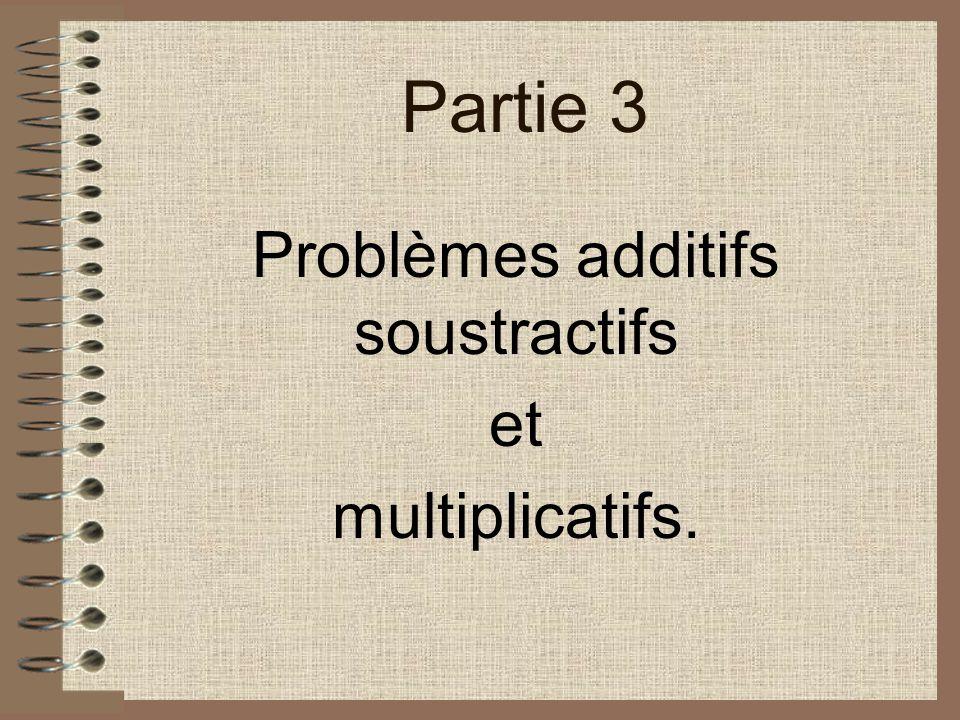 Partie 3 Problèmes additifs soustractifs et multiplicatifs.