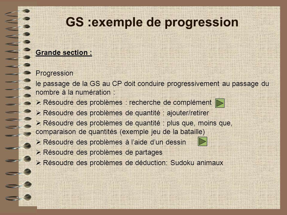 Grande section : Progression le passage de la GS au CP doit conduire progressivement au passage du nombre à la numération :.