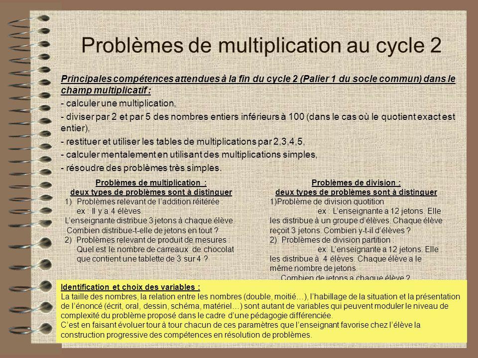 Problèmes de multiplication au cycle 2 Principales compétences attendues à la fin du cycle 2 (Palier 1 du socle commun) dans le champ multiplicatif : - calculer une multiplication, - diviser par 2 et par 5 des nombres entiers inférieurs à 100 (dans le cas où le quotient exact est entier), - restituer et utiliser les tables de multiplications par 2,3,4,5, - calculer mentalement en utilisant des multiplications simples, - résoudre des problèmes très simples.