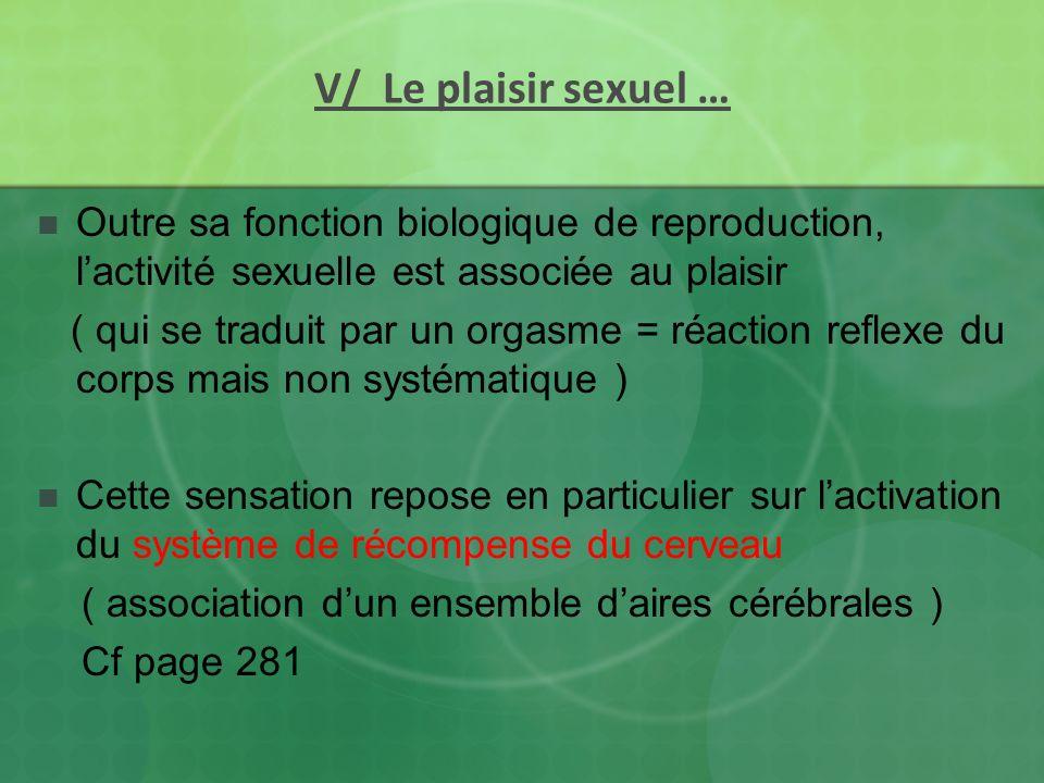 V/ Le plaisir sexuel … Outre sa fonction biologique de reproduction, lactivité sexuelle est associée au plaisir ( qui se traduit par un orgasme = réac