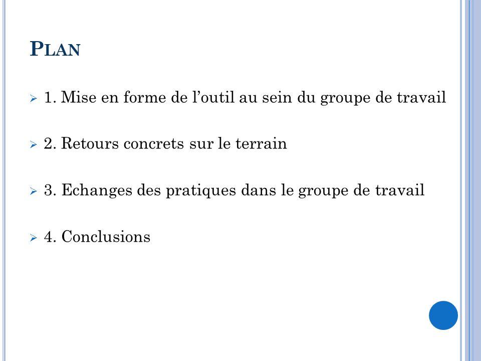 P LAN 1. Mise en forme de loutil au sein du groupe de travail 2. Retours concrets sur le terrain 3. Echanges des pratiques dans le groupe de travail 4