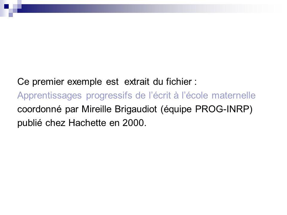 Ce premier exemple est extrait du fichier : Apprentissages progressifs de lécrit à lécole maternelle coordonné par Mireille Brigaudiot (équipe PROG-IN