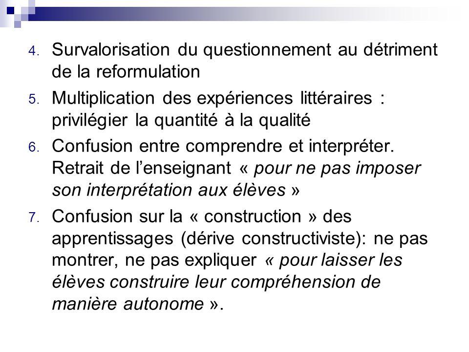 4. Survalorisation du questionnement au détriment de la reformulation 5. Multiplication des expériences littéraires : privilégier la quantité à la qua