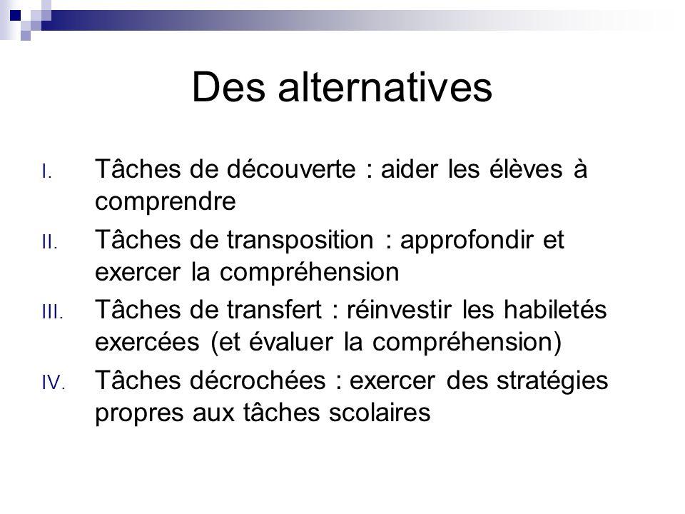 Des alternatives I. Tâches de découverte : aider les élèves à comprendre II. Tâches de transposition : approfondir et exercer la compréhension III. Tâ