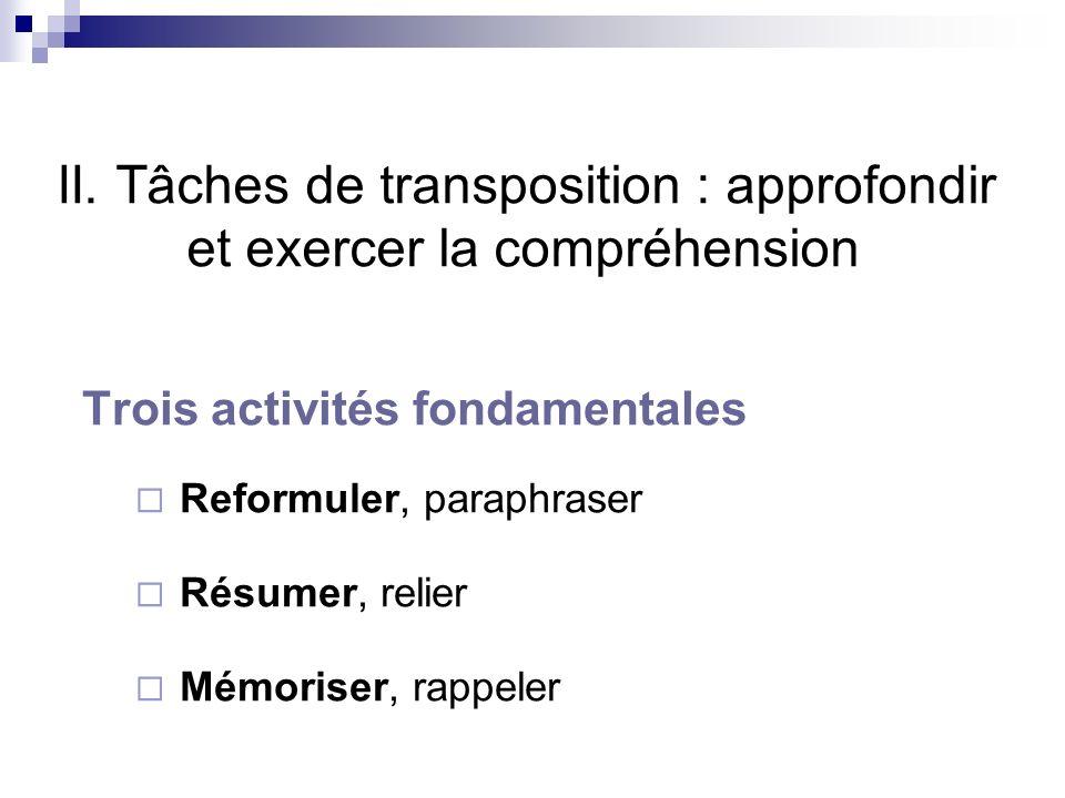 II. Tâches de transposition : approfondir et exercer la compréhension Trois activités fondamentales Reformuler, paraphraser Résumer, relier Mémoriser,