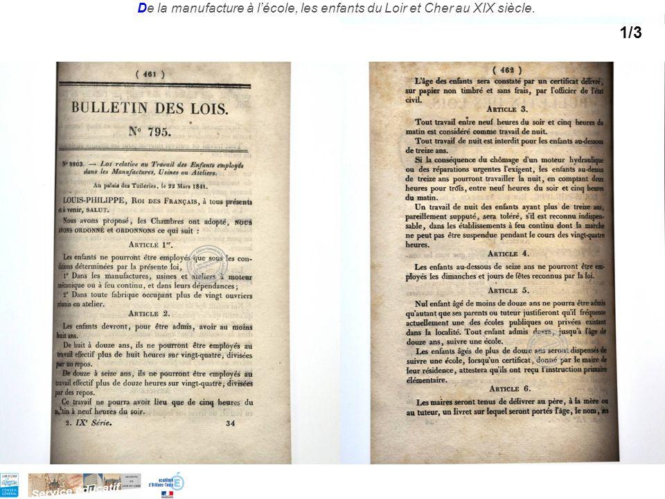 De la manufacture à lécole, les enfants du Loir et Cher au XIX siècle. 1/3
