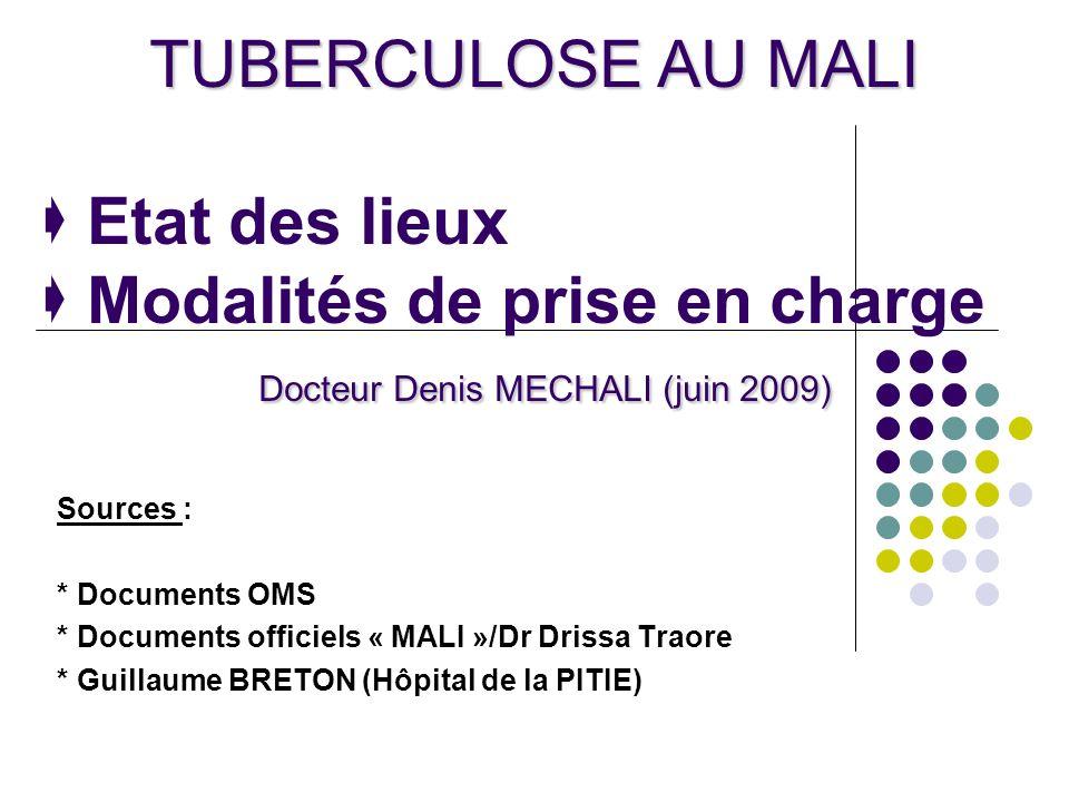 TUBERCULOSE AU MALI Docteur Denis MECHALI (juin 2009) TUBERCULOSE AU MALI Etat des lieux Modalités de prise en charge Docteur Denis MECHALI (juin 2009