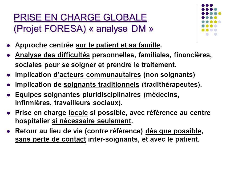 PRISE EN CHARGE GLOBALE (Projet FORESA) « analyse DM » Approche centrée sur le patient et sa famille. Analyse des difficultés personnelles, familiales