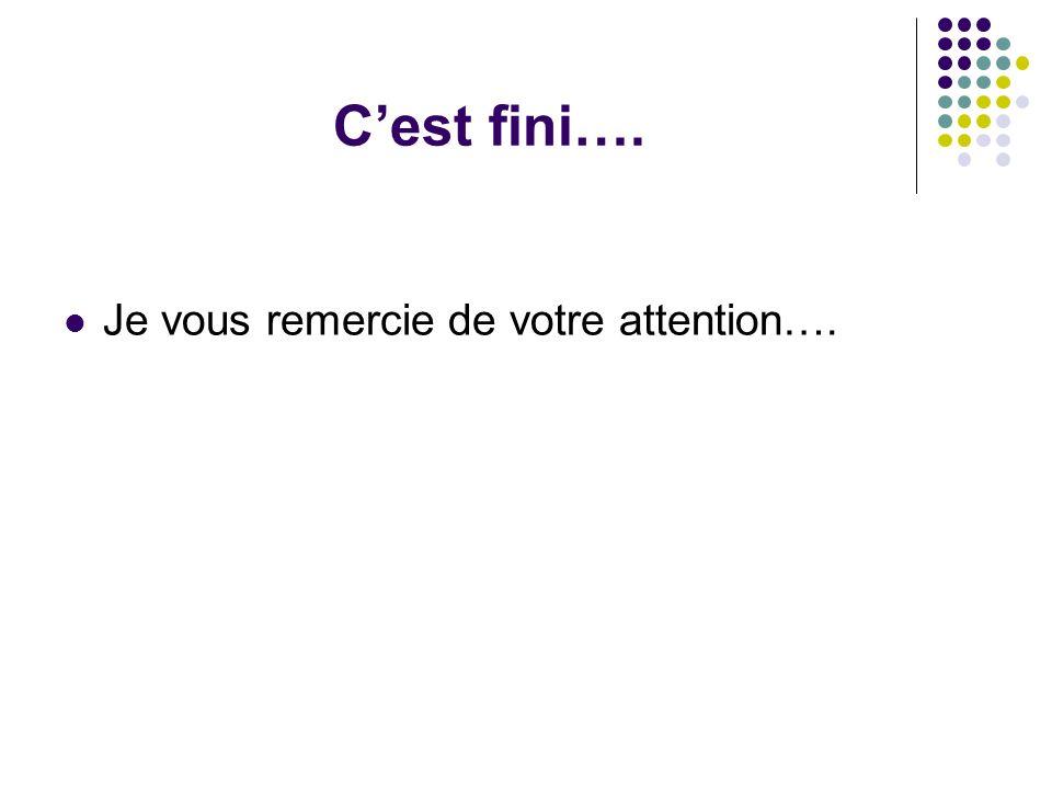 Cest fini…. Je vous remercie de votre attention….