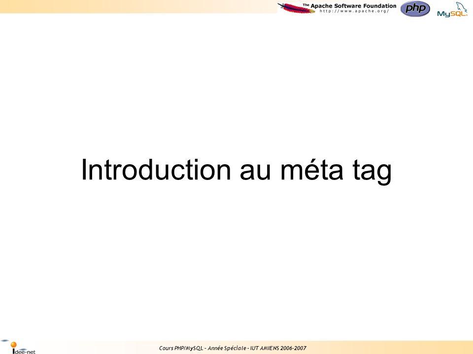 Introduction au méta tag Cours PHP/MySQL – Année Spéciale – IUT AMIENS 2006-2007