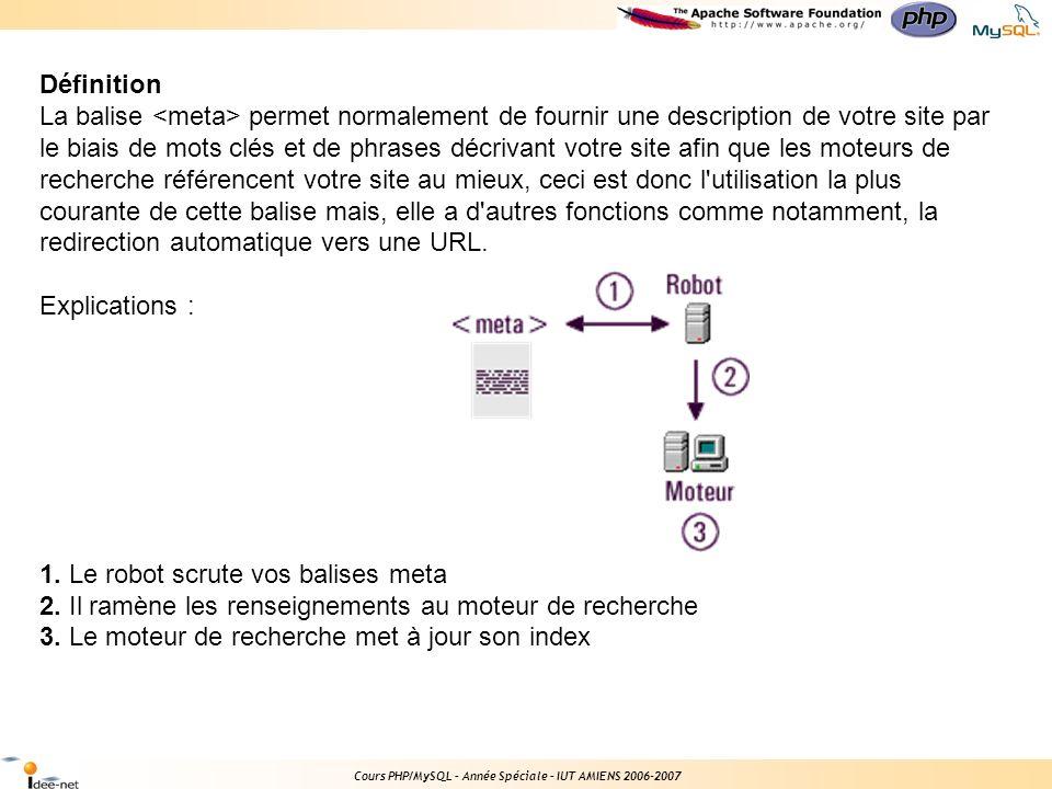 Cours PHP/MySQL – Année Spéciale – IUT AMIENS 2006-2007 Emplacement des balises meta Les balises meta doivent être placées en tête du document HTML, entre les marqueurs et (avant la balise ).