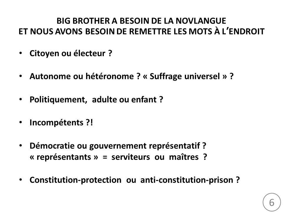 6 BIG BROTHER A BESOIN DE LA NOVLANGUE ET NOUS AVONS BESOIN DE REMETTRE LES MOTS À LENDROIT Citoyen ou électeur ? Autonome ou hétéronome ? « Suffrage
