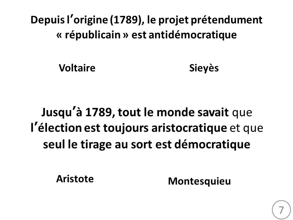 7 Depuis lorigine (1789), le projet prétendument « républicain » est antidémocratique Jusquà 1789, tout le monde savait que lélection est toujours ari