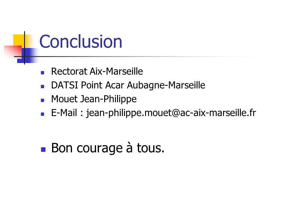 Conclusion Rectorat Aix-Marseille DATSI Point Acar Aubagne-Marseille Mouet Jean-Philippe E-Mail : jean-philippe.mouet@ac-aix-marseille.fr Bon courage