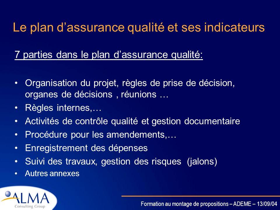 Formation au montage de propositions – ADEME – 13/09/04 Le plan dassurance qualité et ses indicateurs Le PAQ est utilisé pour suivre le déroulement du