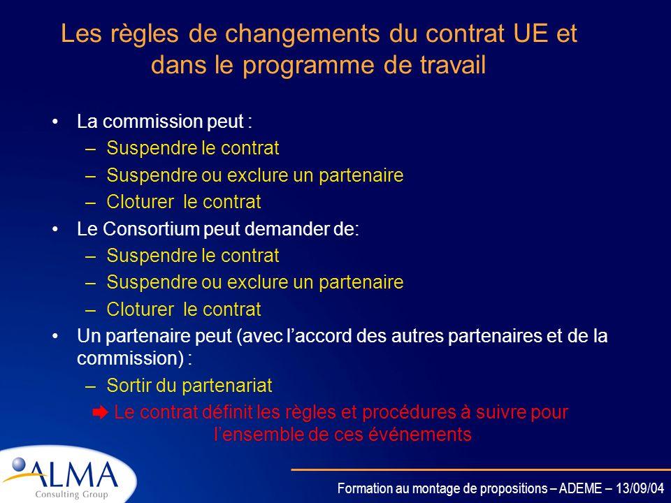 Formation au montage de propositions – ADEME – 13/09/04 Le plan dassurance qualité et ses indicateurs 7 parties dans le plan dassurance qualité: Organ