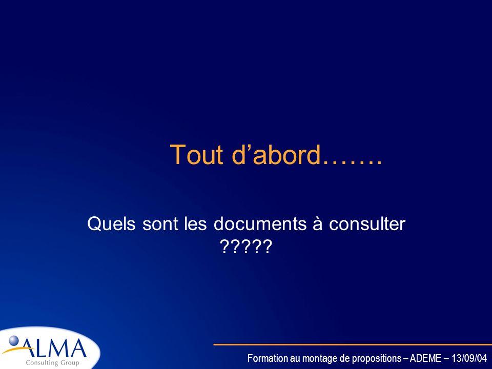 Formation au montage de propositions – ADEME – 13/09/04 Organisation de la rédaction de loffre