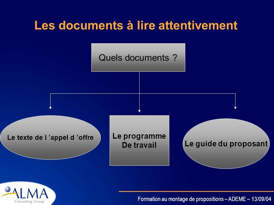Formation au montage de propositions – ADEME – 13/09/04 Tout dabord……. Quels sont les documents à consulter ?????