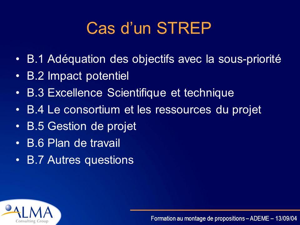 Formation au montage de propositions – ADEME – 13/09/04 Cas dun Projet intégré B.1 Adéquation des objectifs avec la sous-priorité B.2 Impact potentiel
