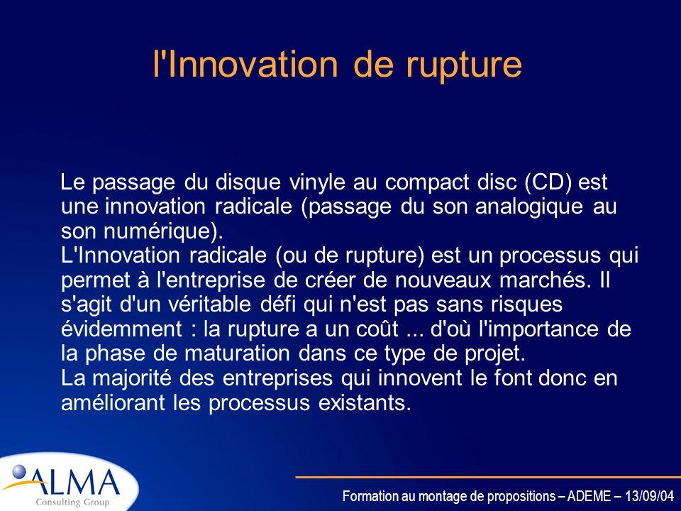 Formation au montage de propositions – ADEME – 13/09/04 l'Innovation Incrémentale L'appareil photo jetable est une Innovation Incrémentale, car la tec