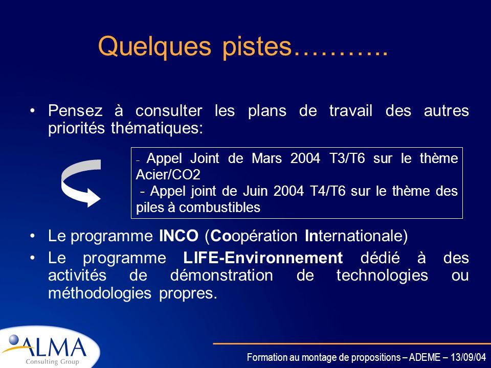 Formation au montage de propositions – ADEME – 13/09/04 Je ne trouve pas mon thème de recherche !!!!!!!! Pensez aux programmes satellites et aux appel