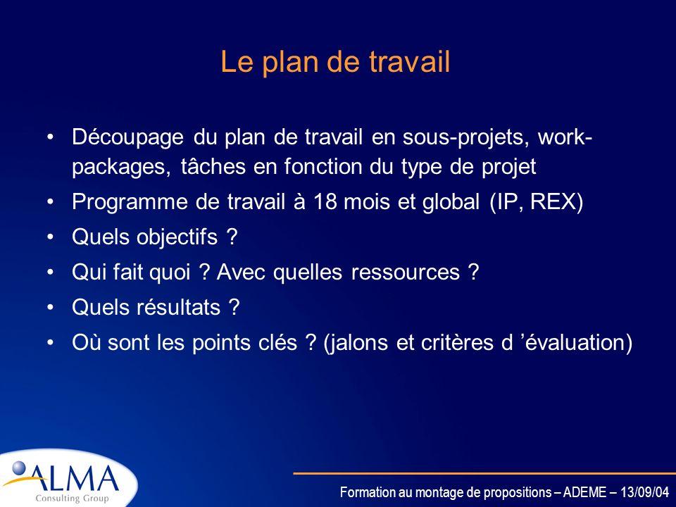 Formation au montage de propositions – ADEME – 13/09/04 Le plan de travail