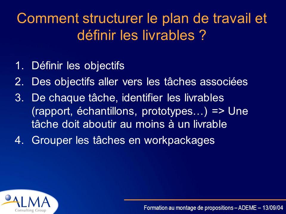 Formation au montage de propositions – ADEME – 13/09/04 Définitions Tout résultat tangible et vérifiable du projet est un livrable. Un jalon est un mo