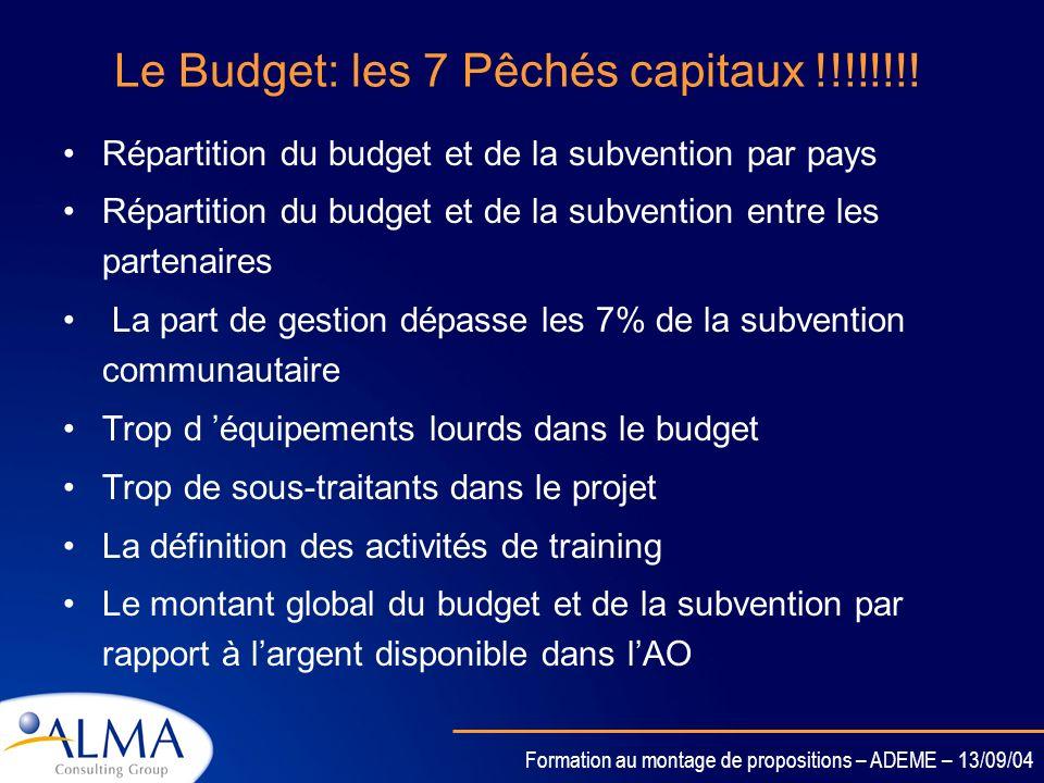 Formation au montage de propositions – ADEME – 13/09/04 Le Budget La préparation du budget est un élément clé. Le budget doit être réaliste et couvrir