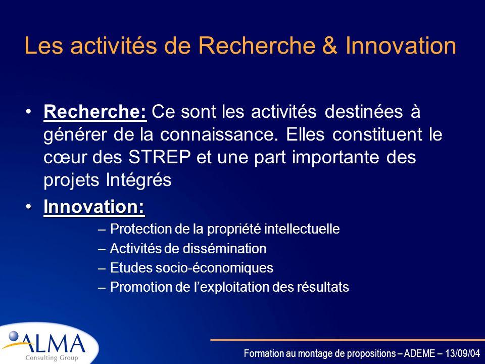 Formation au montage de propositions – ADEME – 13/09/04 Le Budget: Les différents types dactivités Répartition par activités: Les activités de recherc