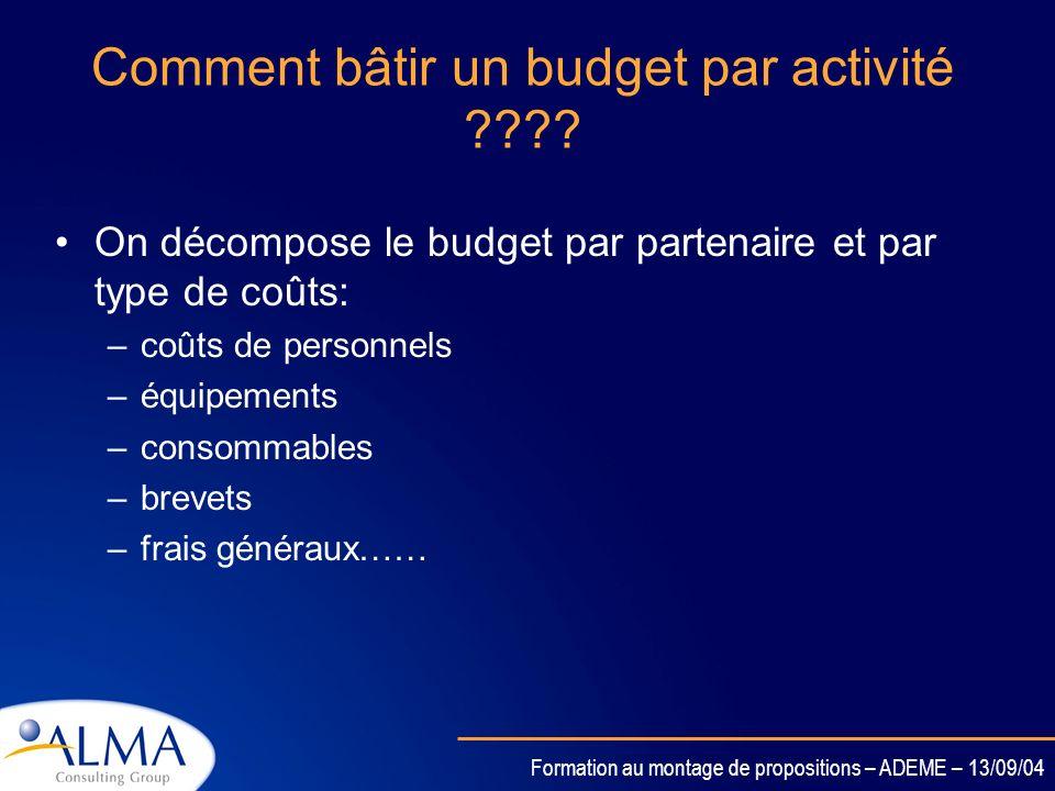 Formation au montage de propositions – ADEME – 13/09/04 Les activités de Gestion de projet Gestion de projet: - Coordination des activités techniques