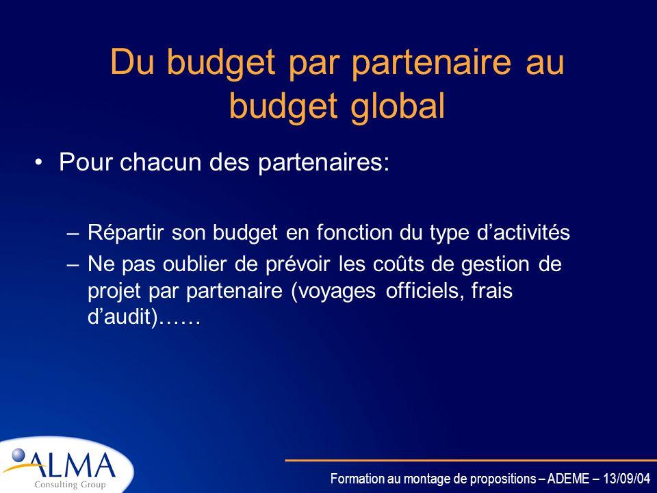 Formation au montage de propositions – ADEME – 13/09/04 Comment bâtir un budget par activité ???? On décompose le budget par partenaire et par type de