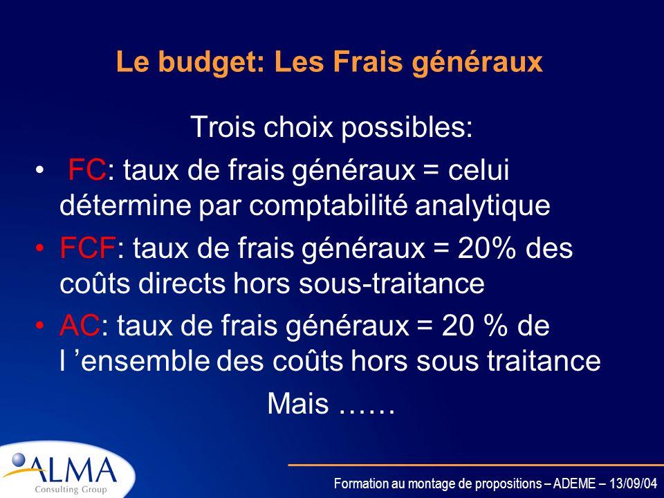 Formation au montage de propositions – ADEME – 13/09/04 Le budget: Les frais généraux Quels modes de calcul ? Avez vous déjà utilisé un taux de frais
