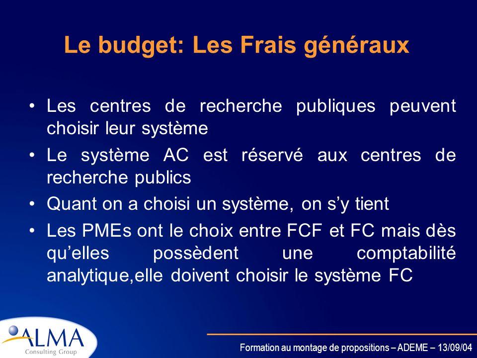 Formation au montage de propositions – ADEME – 13/09/04 Le budget: Les Frais généraux Trois choix possibles: FC: taux de frais généraux = celui déterm