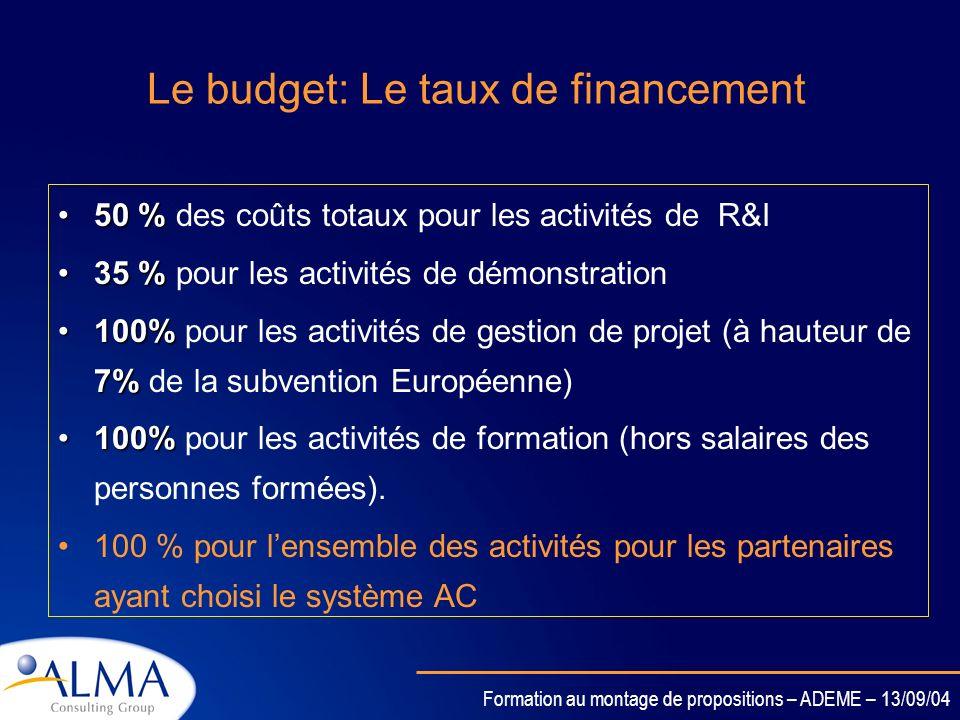 Formation au montage de propositions – ADEME – 13/09/04 Le budget: Les Frais généraux Les centres de recherche publiques peuvent choisir leur système