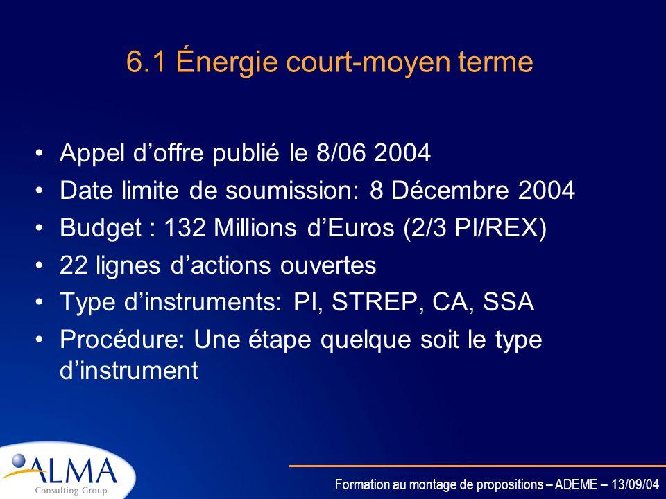 Formation au montage de propositions – ADEME – 13/09/04 6.1 Énergie Les appels doffre ont été publiés en: juillet 2004 (clôture 8 décembre 2004) pour