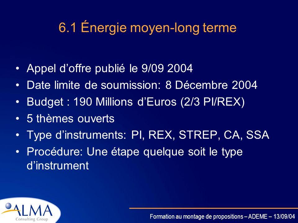 Formation au montage de propositions – ADEME – 13/09/04 6.1 Énergie court-moyen terme Appel doffre publié le 8/06 2004 Date limite de soumission: 8 Dé