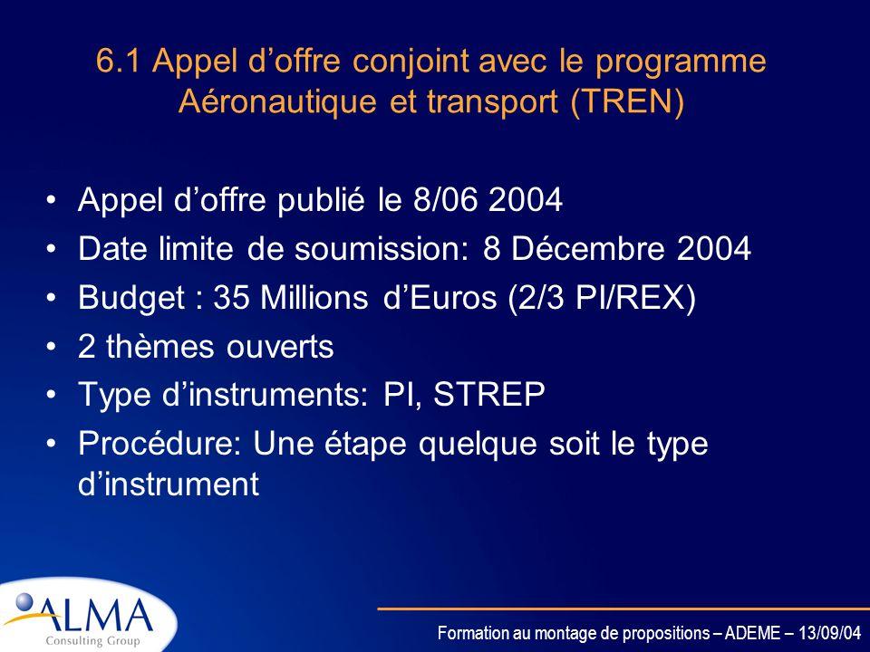 Formation au montage de propositions – ADEME – 13/09/04 6.1 Énergie moyen-long terme Appel doffre publié le 9/09 2004 Date limite de soumission: 8 Déc