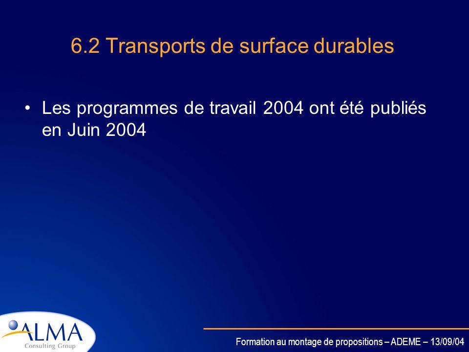 Formation au montage de propositions – ADEME – 13/09/04 6.1 Appel doffre conjoint avec le programme Aéronautique et transport (TREN) Appel doffre publ