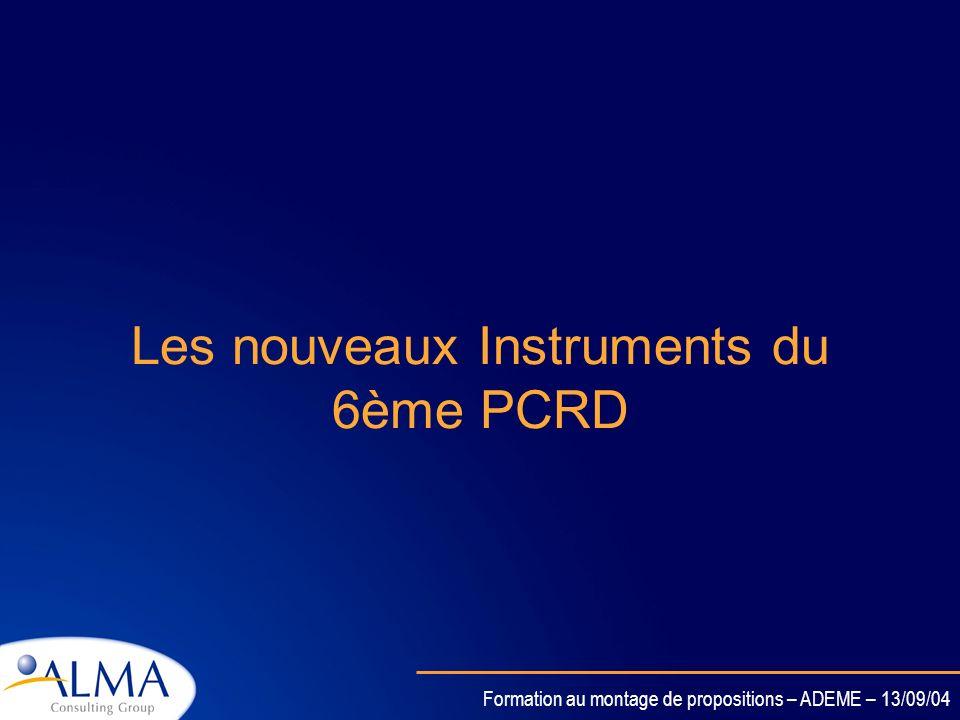 Formation au montage de propositions – ADEME – 13/09/04 Instruments classiquesNouveaux instruments Projets de recherches ciblés Action de coordination