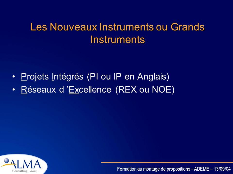 Formation au montage de propositions – ADEME – 13/09/04 Les nouveaux Instruments du 6ème PCRD