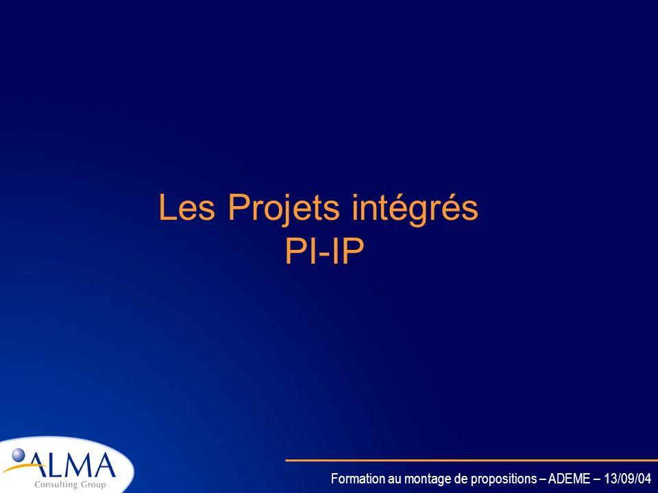 Formation au montage de propositions – ADEME – 13/09/04 Projets Intégrés (PI ou IP en Anglais) Réseaux d Excellence (REX ou NOE) Les Nouveaux Instrume