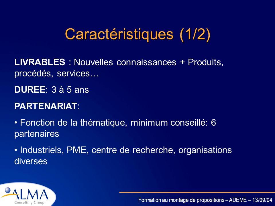 Formation au montage de propositions – ADEME – 13/09/04 Objectifs Générer de la connaissance Mobiliser une masse critique de ressources et compétences