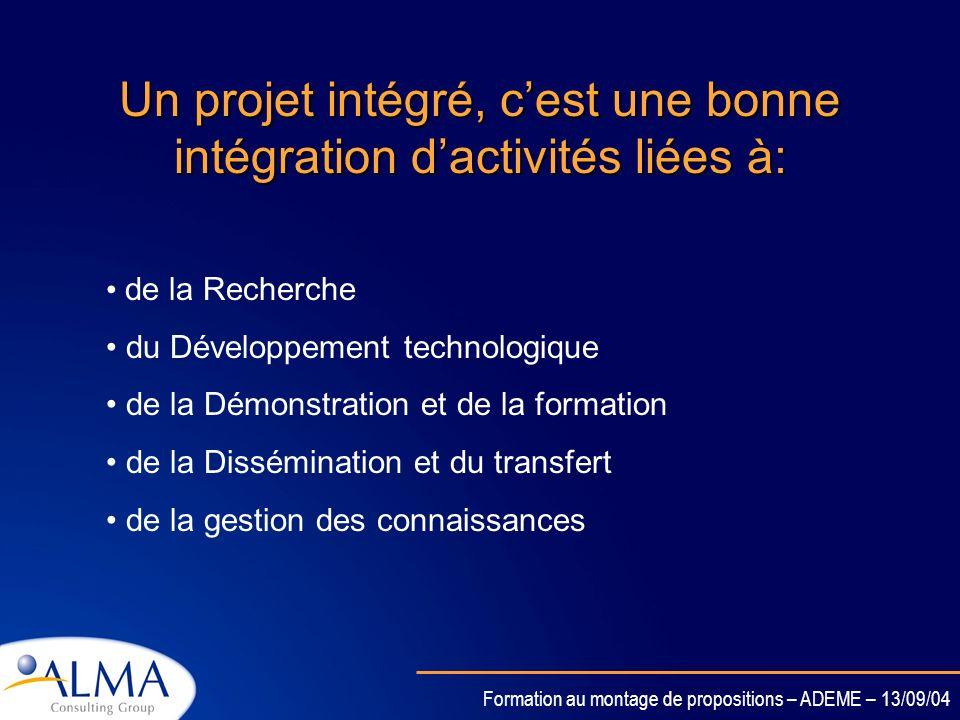 Formation au montage de propositions – ADEME – 13/09/04 Caractéristiques (2/2) FINANCEMENT: Financement basé sur le type dactivité (Recherche et innov