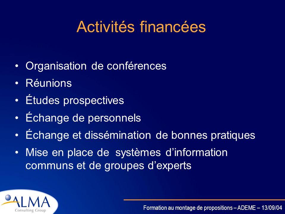 Formation au montage de propositions – ADEME – 13/09/04 Définition Lobjectif des CA est de promouvoir la mise en réseau et la coordination des activit