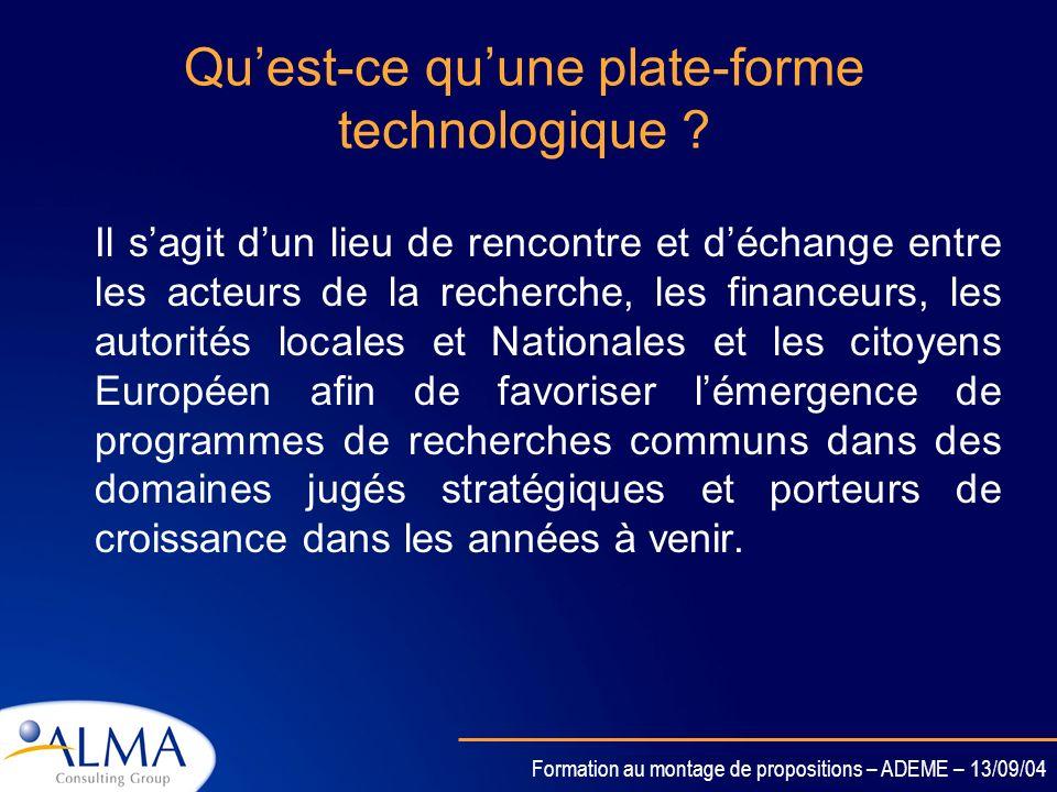 Formation au montage de propositions – ADEME – 13/09/04 Les Plate-formes technologiques Une évolution du 6ème PCRD Une Initiative de la Commission pou