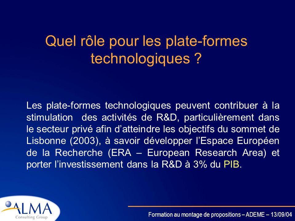 Formation au montage de propositions – ADEME – 13/09/04 Quest-ce quune plate-forme technologique ? Il sagit dun lieu de rencontre et déchange entre le